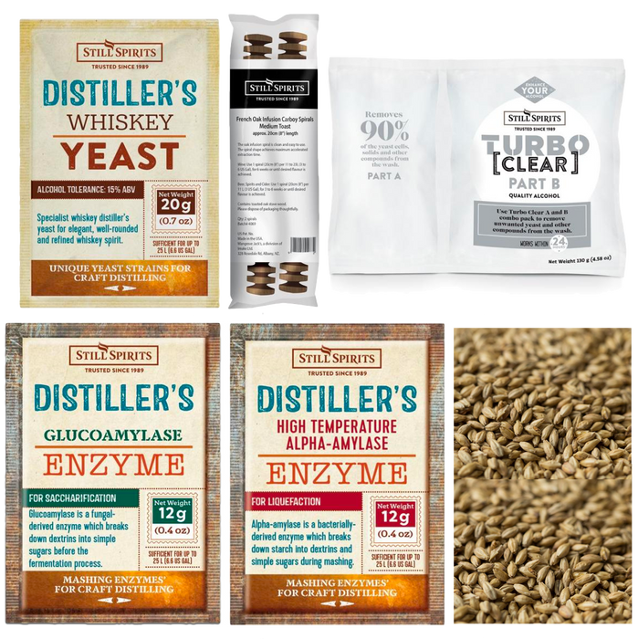 Still Spirits Peated Whiskey Grain Kit: Whiskey Distiller's Yeast + PEATED Grain (shipping mid January)