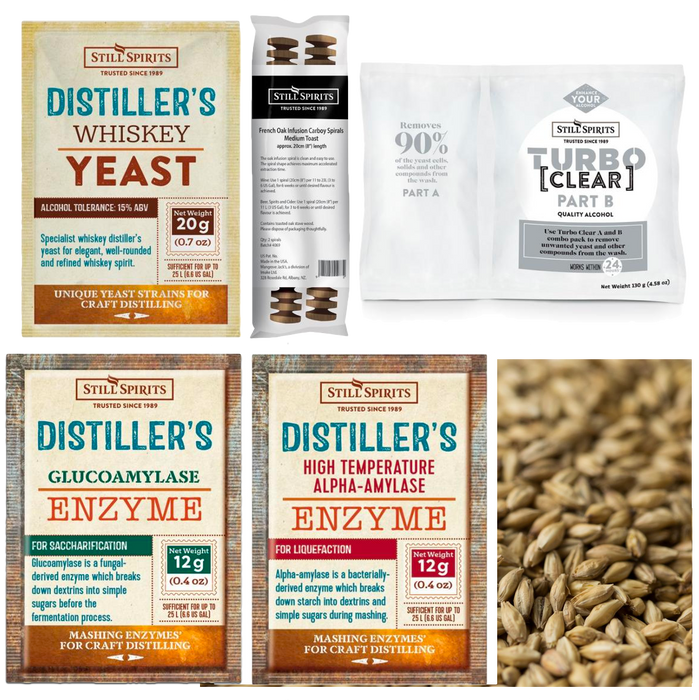 Still Spirits Single Malt Whiskey Grain Kit: Whiskey Distiller's Yeast + SINGLE MALT Grain (shipping late April)