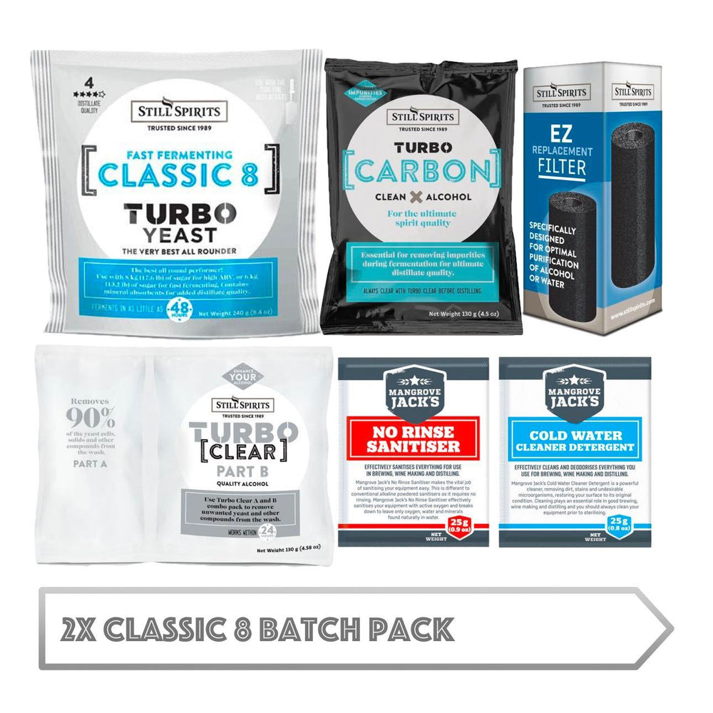 2x Classic 8 Batch Pack: 2x Still Spirits Classic 8 Yeast, 2x Turbo Carbon, 2x Turbo Clear, 2x EZ Filter, 2x Cold Water Detergent & 2x No-Rinse Sanitiser