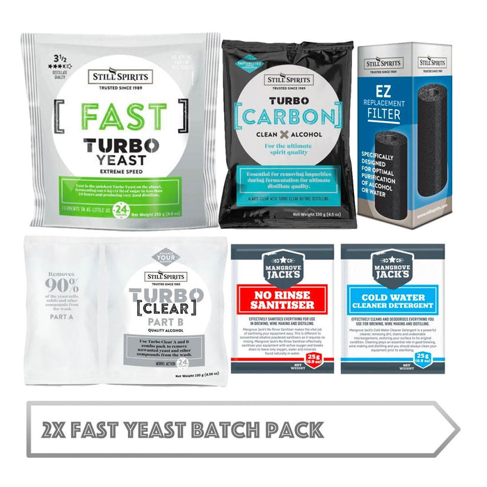 2x Fast Yeast Batch Pack: 2x Still Spirits Fast Yeast, 2x Turbo Carbon, 2x Turbo Clear, 2x EZ Filter, 2x Cold Water Detergent & 2x No-Rinse Sanitiser (shipping late July)