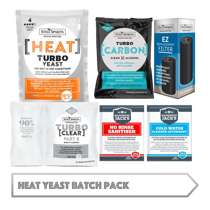 Heat Yeast Batch Pack: Still Spirits Heat Yeast, Turbo Carbon, Turbo Clear, EZ Filter, Cold Water Detergent & No-Rinse Sanitiser
