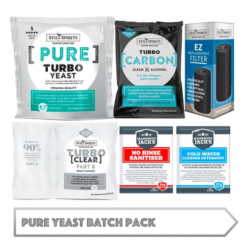 Pure Yeast Batch Pack: Still Spirits Pure Yeast, Turbo Carbon, Turbo Clear, EZ Filter, Cold Water Detergent & No-Rinse Sanitiser