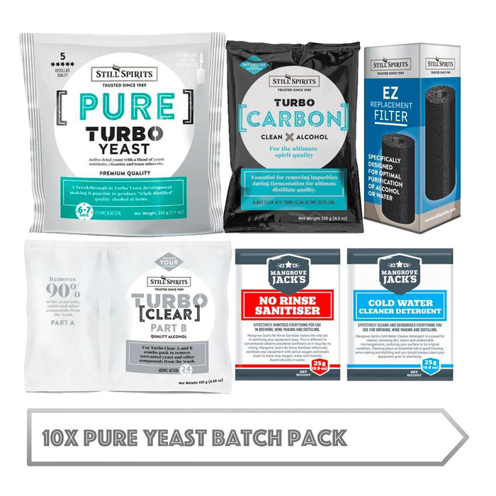 10x Pure Yeast Batch Pack: 10x Still Spirits Pure Yeast, 10x Turbo Carbon, 10x Turbo Clear, 10x EZ Filter, 10x Cold Water Detergent & 10x No-Rinse Sanitiser