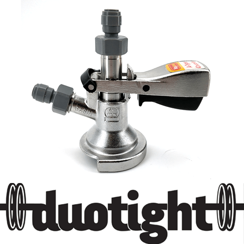 "A-Type Commercial Keg Coupler - Full Stainless Steel - duotight 5/8"" to 8mm push in with Low Profile Elbow Bend"