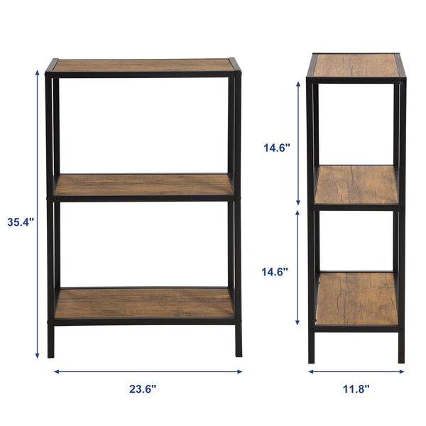 SONGMICS Industrial 3-Tier Storage Shelf, Metal Frame Storage Rack, for Kitchen, Bedroom, Living Room, Rustic ULSS90BX