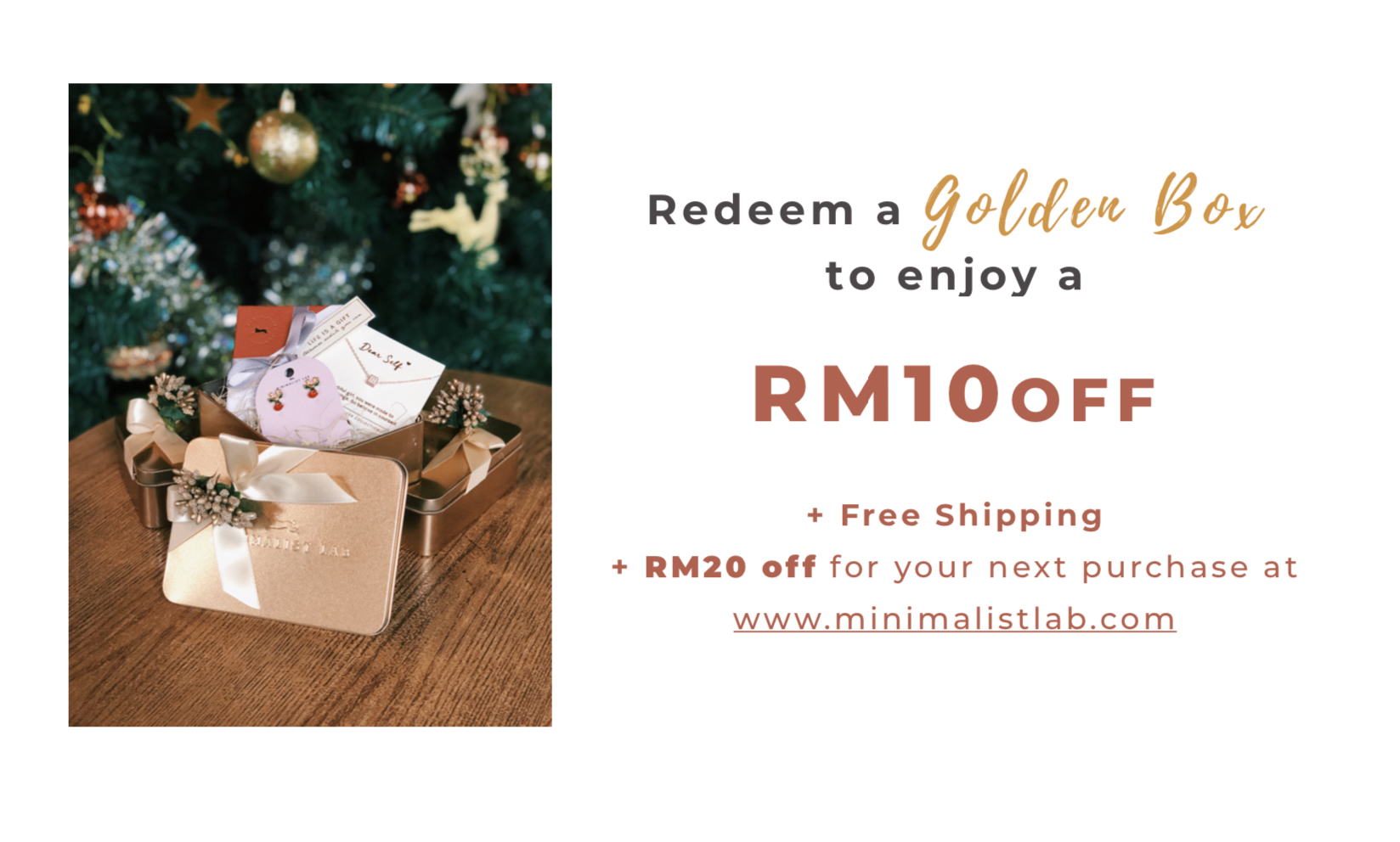 Minimalist Lab the Golden Box. Christmas gift; minimal jewellery
