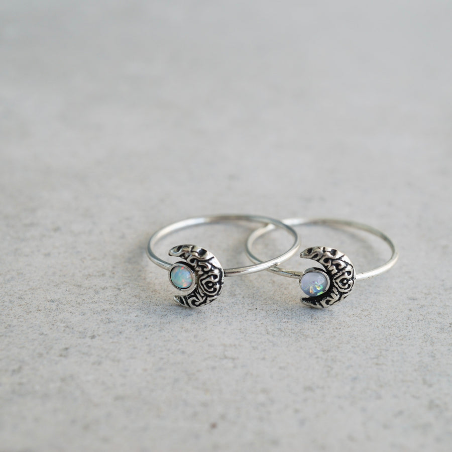 Sterling Silver Moon Ring with Fire Snow