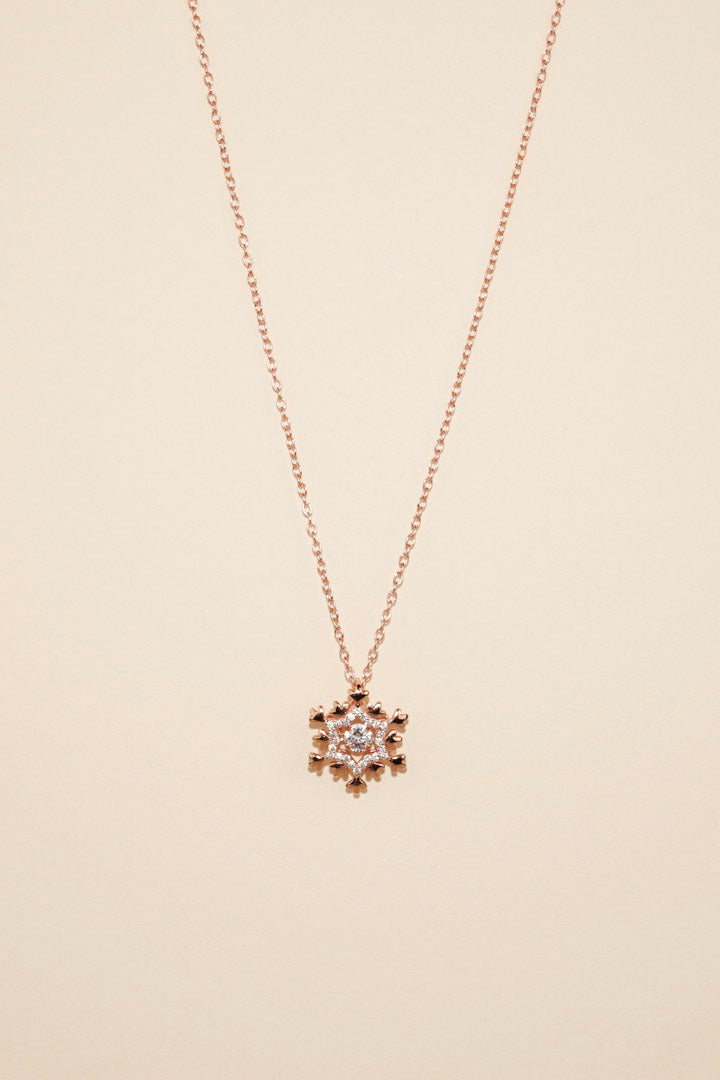 Rose Gold Dancing Diamond Snowflake Necklace