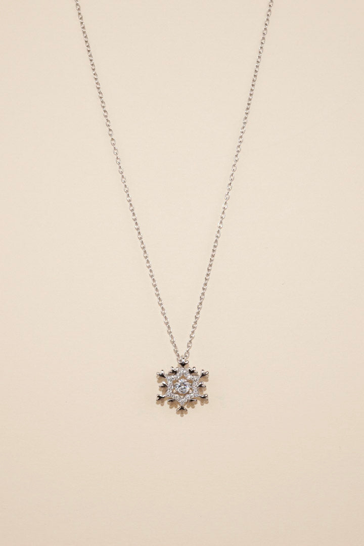 Silver Dancing Diamond Snowflake Necklace