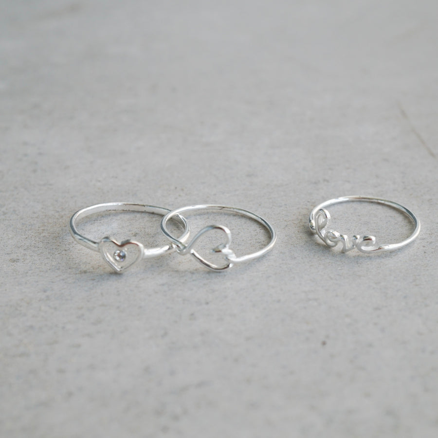 Sterling Silver Wired Heart Ring
