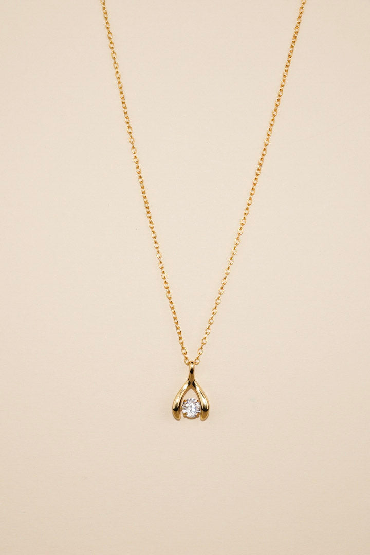 Gold Dancing Diamond Wishbone Necklace