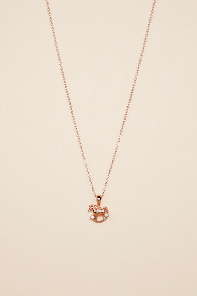 Rose Gold Rocking Horse Necklace
