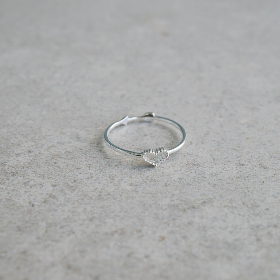 Sterling Silver Heart and Arrow Double Sided Ring