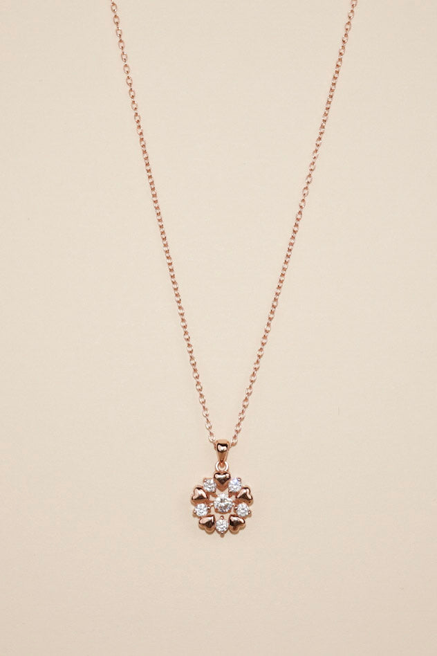 Rose Gold Dancing Diamond Sparkly Hearts Necklace