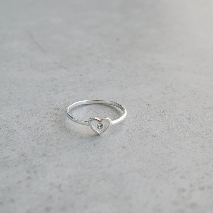 Sterling Silver Heart Outline Ring with Cubic Zirconia