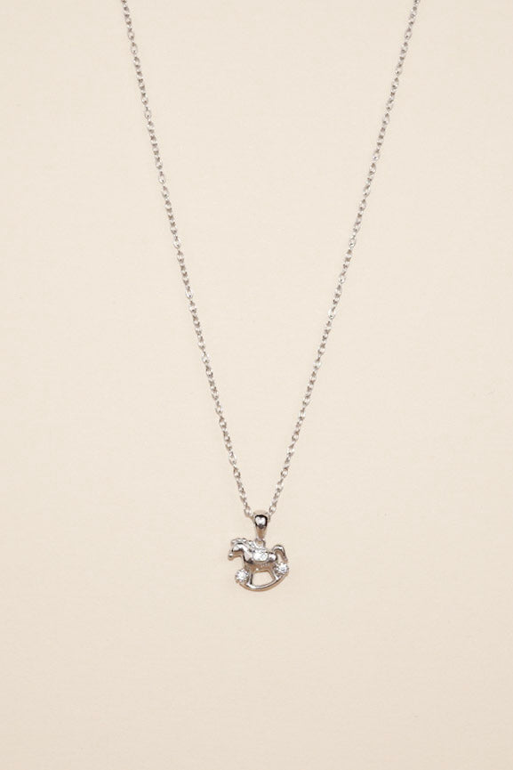Silver Rocking Horse Necklace