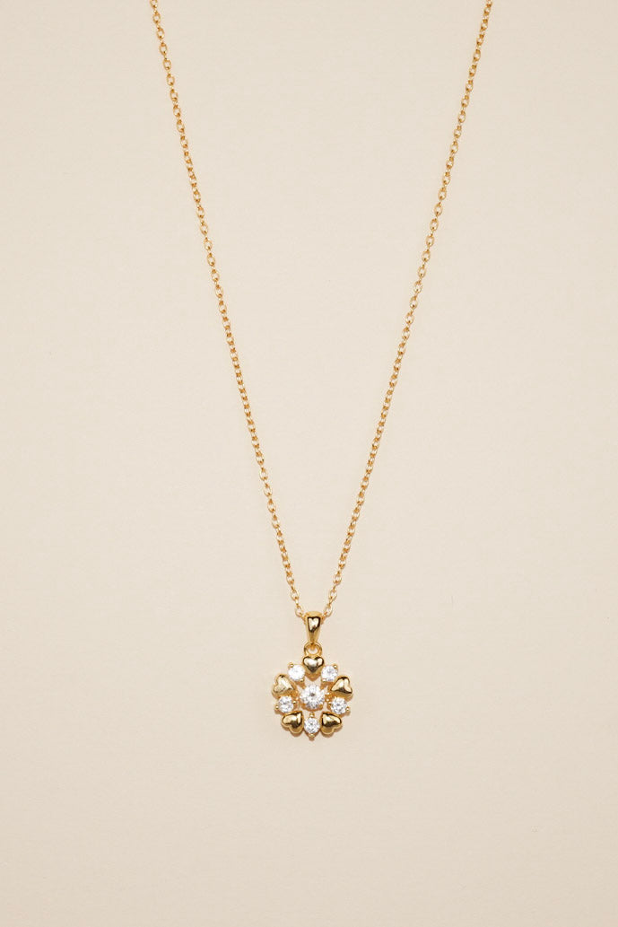 Gold Dancing Diamond Sparkly Hearts Necklace