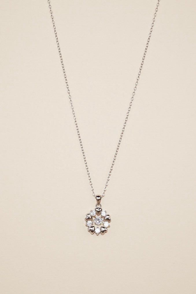 Silver Dancing Diamond Sparkly Hearts Necklace