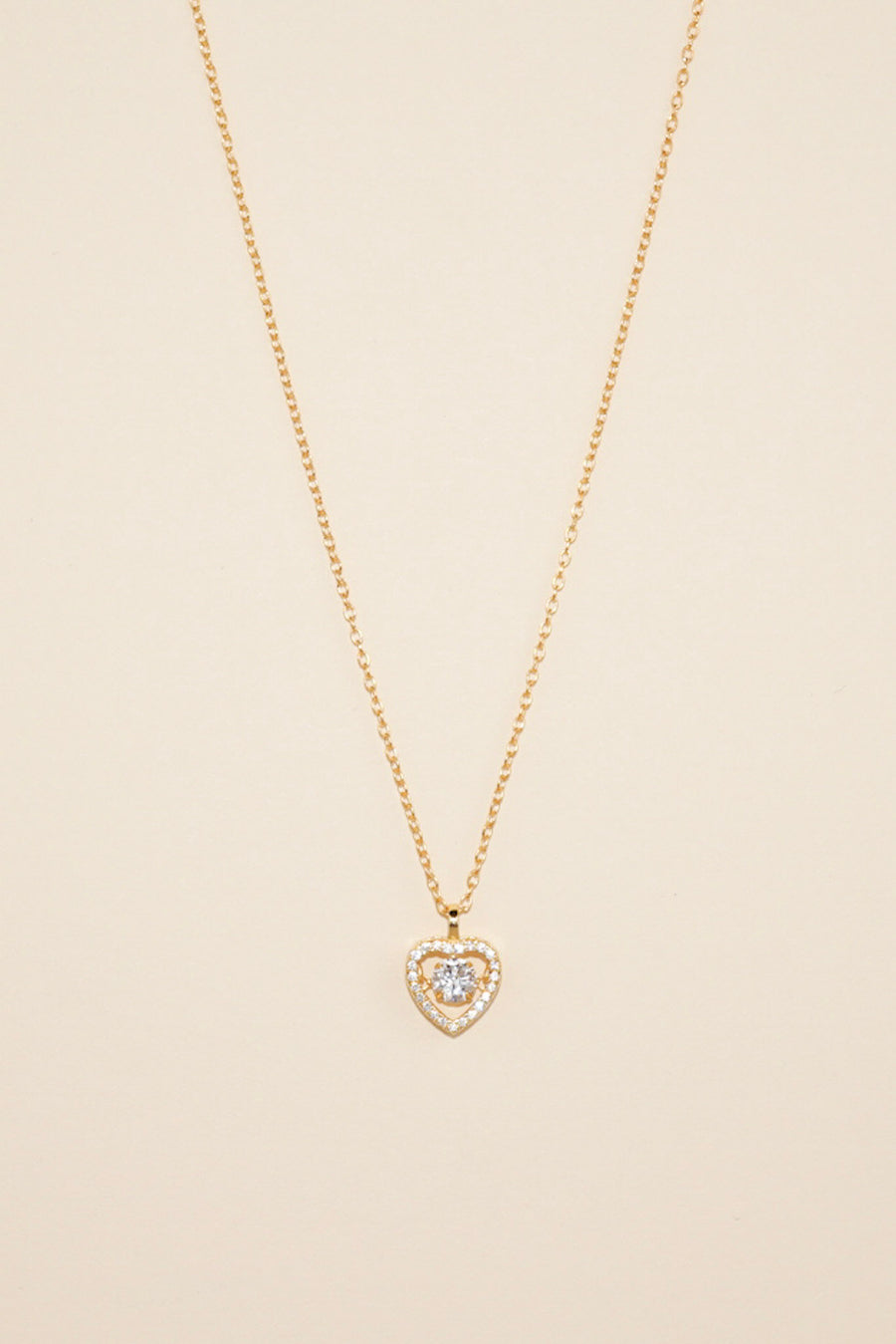 Gold Dancing Diamond Heart Necklace