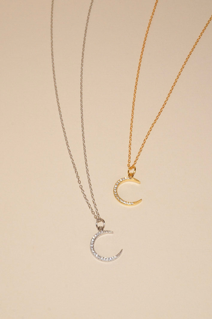 MILA Sparkly Moon Sterling Silver Necklace