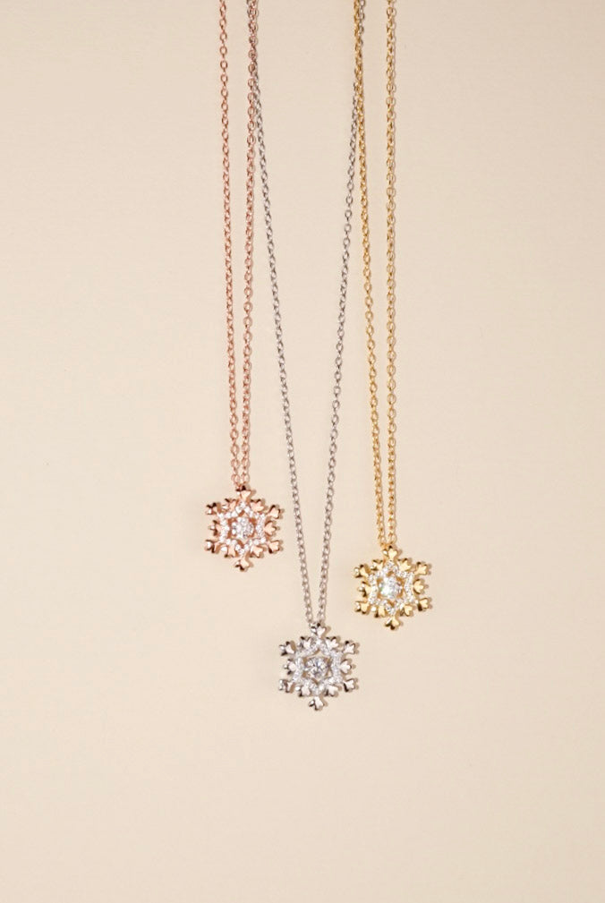 Dancing Diamond Snowflake Necklace