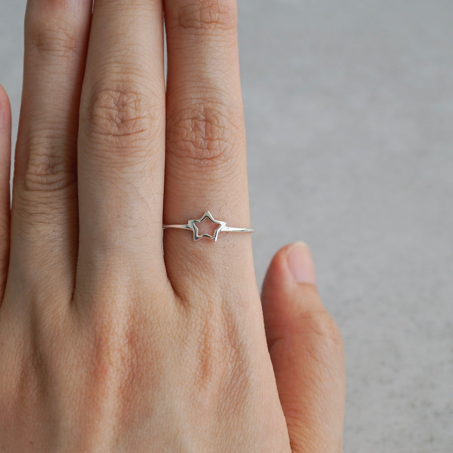 Sterling Silver Stars Double Sided Ring