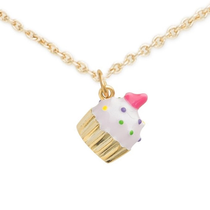 Gold Cupcake Necklace, Enjoy Your Cupcake