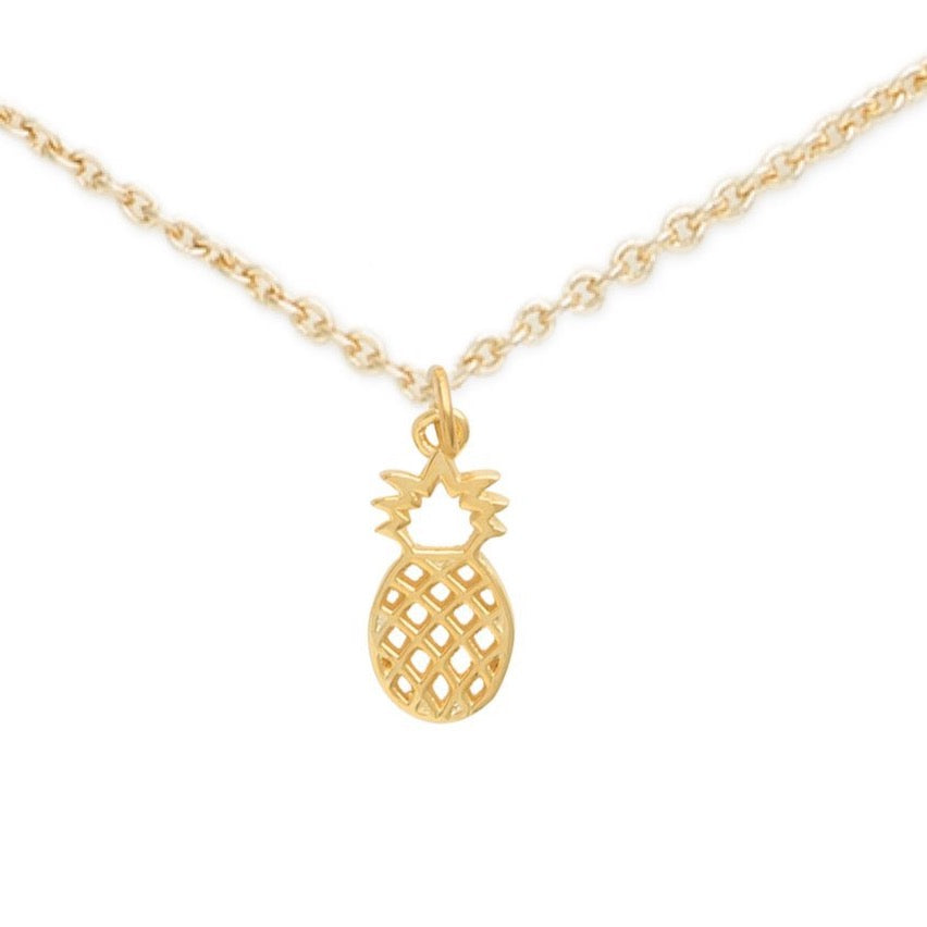 Gold Pineapple Necklace, Young Sweet Pineapple