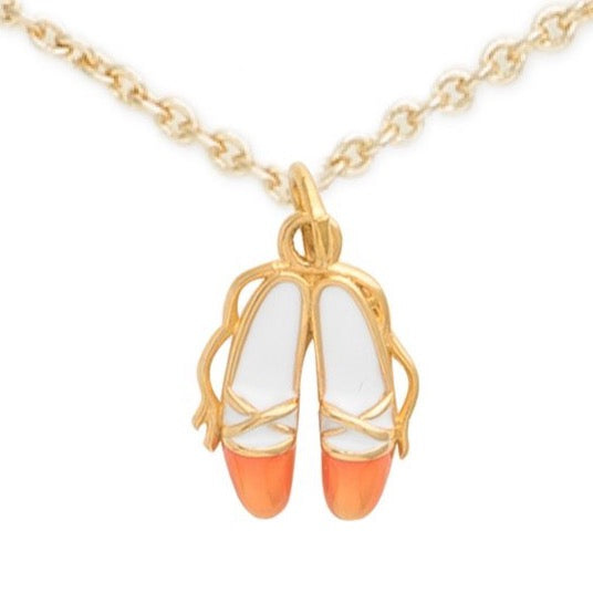 Gold Ballet Shoes Necklace, The Ballet Shoes