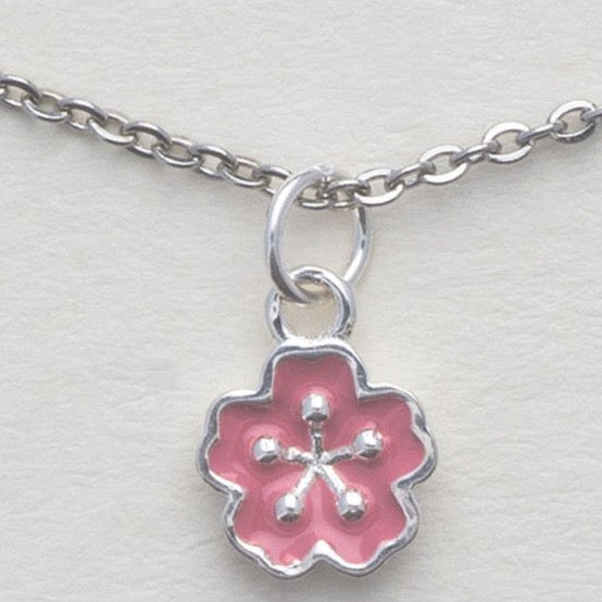Sterling Silver Sakura Flower Necklace, Cherry Blossom Bloom