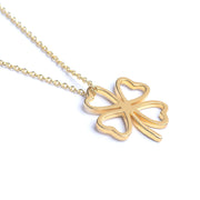 lucky clover necklace, gold clover necklace, clover pendant, lucky necklace,gift for her,hollow clover necklace,best friend gift, Four Leaf Clover Necklace,lucky charm,Friendship Jewelry,clover charm