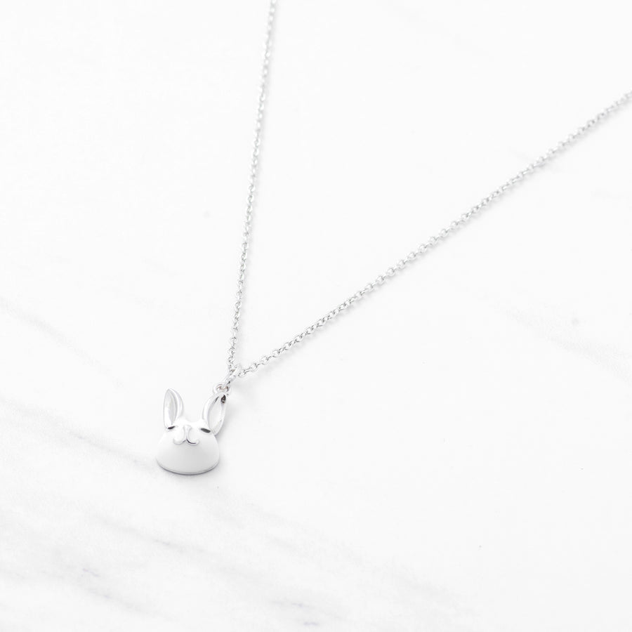 Sterling Silver 3D White Rabbit Necklace, Happy Bunny II