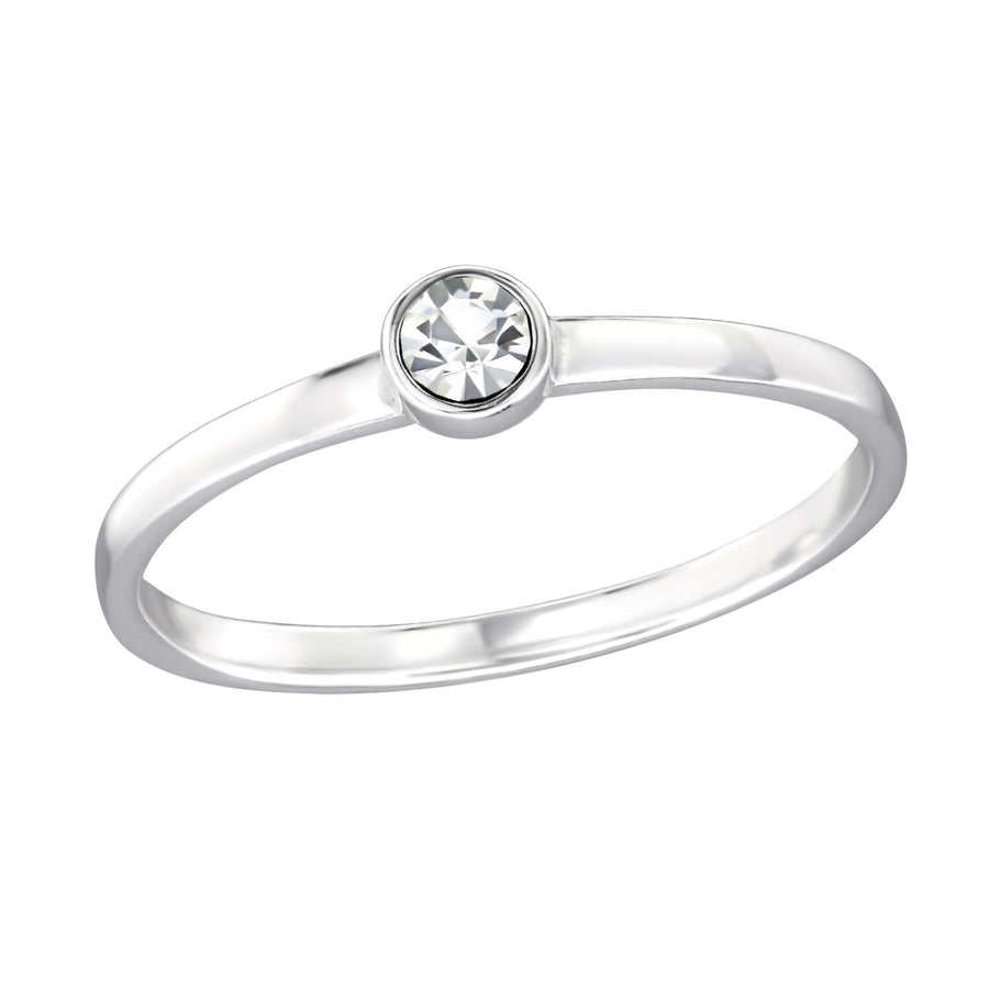Sterling Silver Single Stone Ring with Crystal