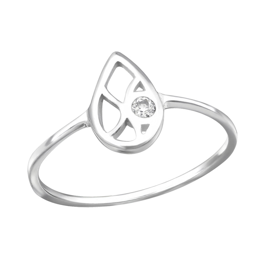 Sterling Silver Hollow Teardrop Ring with Cubic Zirconia