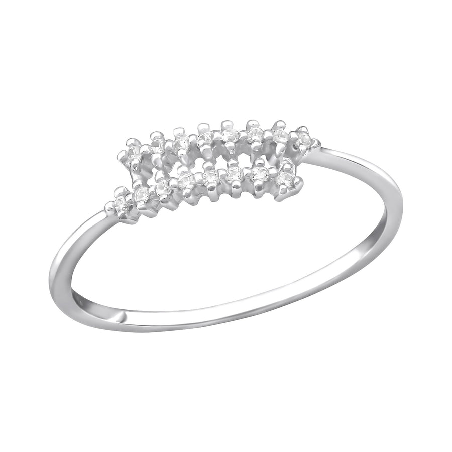 Sterling Silver Spiral Ring with Cubic Zirconia