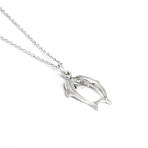 Sterling Silver Dolphin Necklace, Dolphin Love