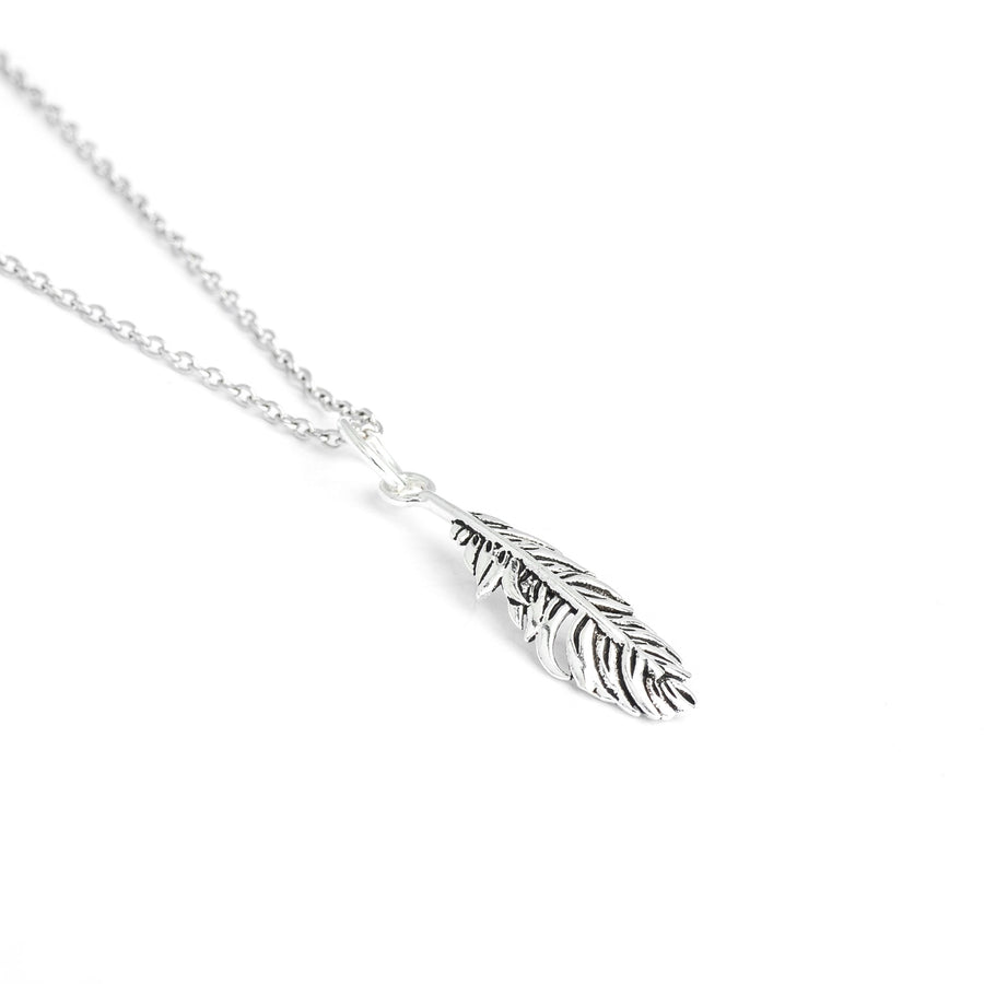 Sterling Silver Feather Necklace, Hippie Feather