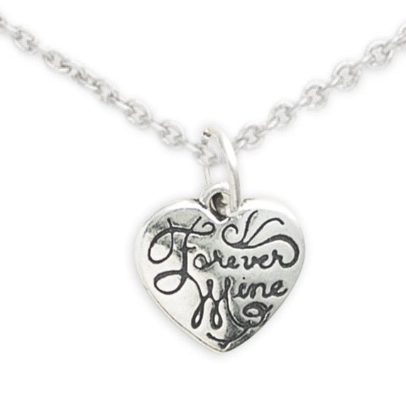 Sterling Silver Heart Necklace, Forever Mine