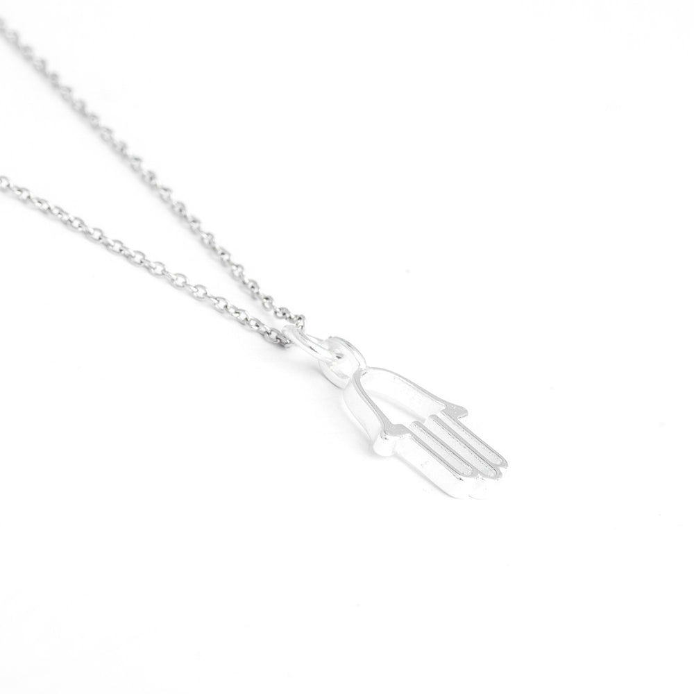 Sterling Silver Hamsa Necklace, Hamsa Hand