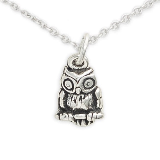 Sterling Silver Owl Necklace, I'm A Wise Little Owl