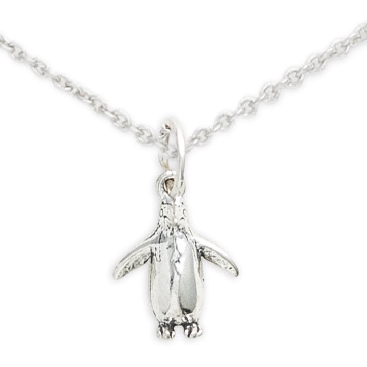 Sterling Silver Penguin Necklace, Penguin Love