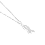 Sterling Silver Ribbon Necklace, Ribbon of Hope