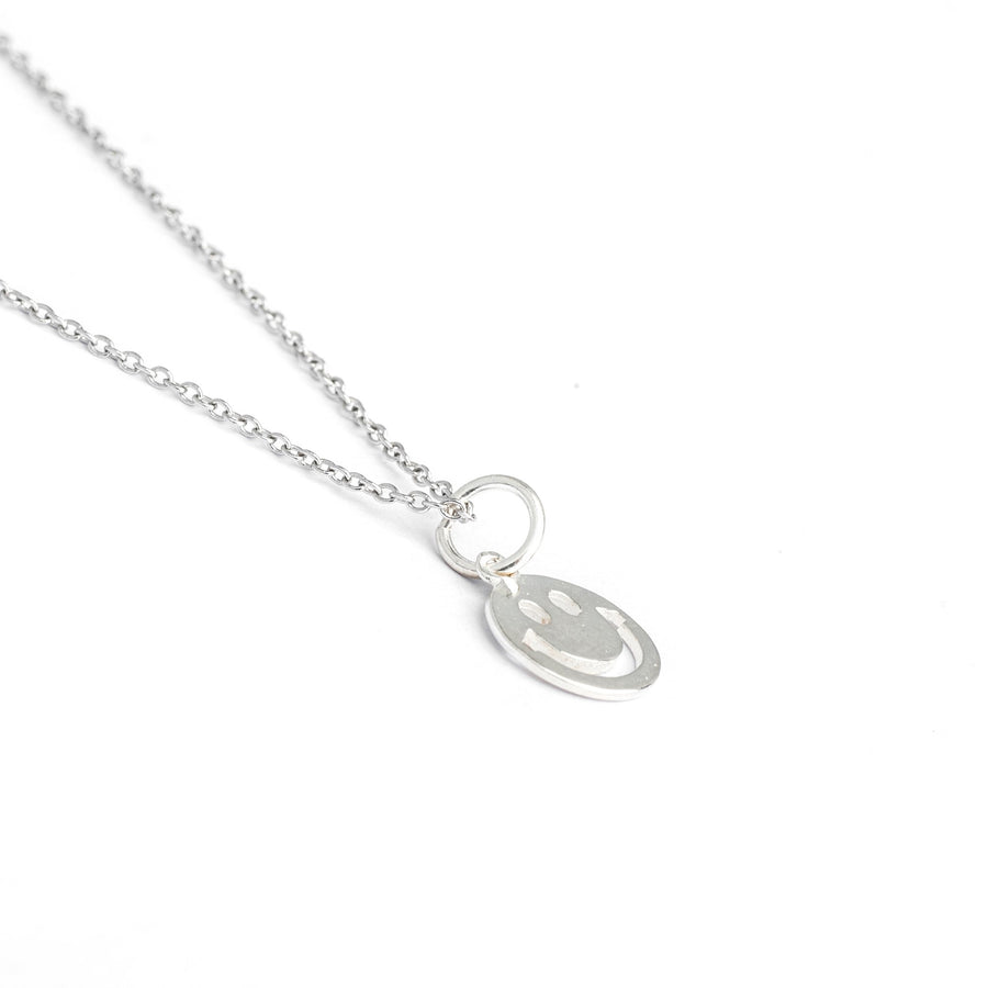 Sterling Silver Smiley Face Necklace, Smiley Face