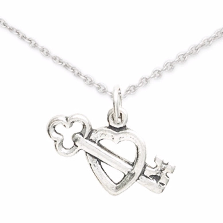 Sterling Silver Key and Heart Necklace, My Heart is Open