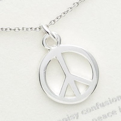 Sterling Silver Peace Necklace, I Choose Peace (Large)