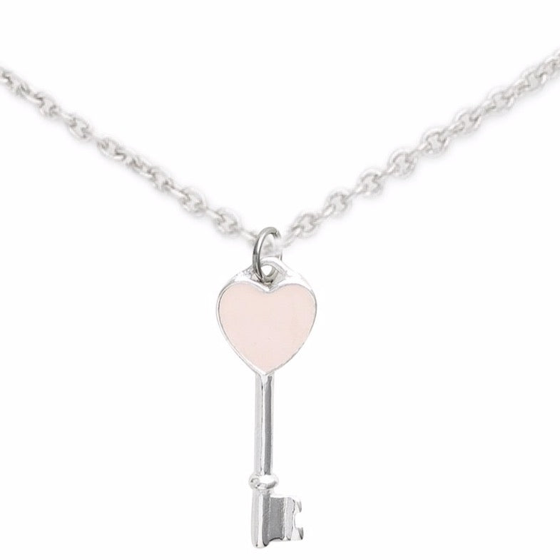 Sterling Silver Heart Key Necklace, Sweetheart Key