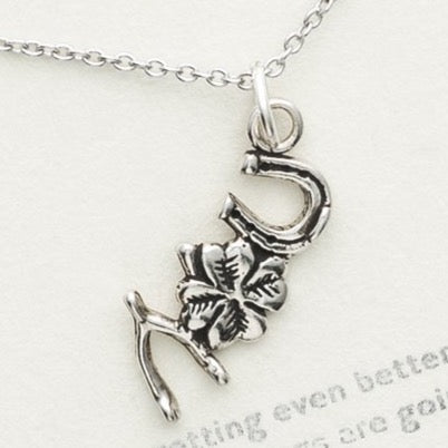 Sterling Silver Lucky Necklace, Lucky Vibes