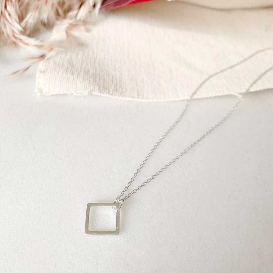 Sterling Silver Geometry Necklace/Bracelet, Simple Life - Square