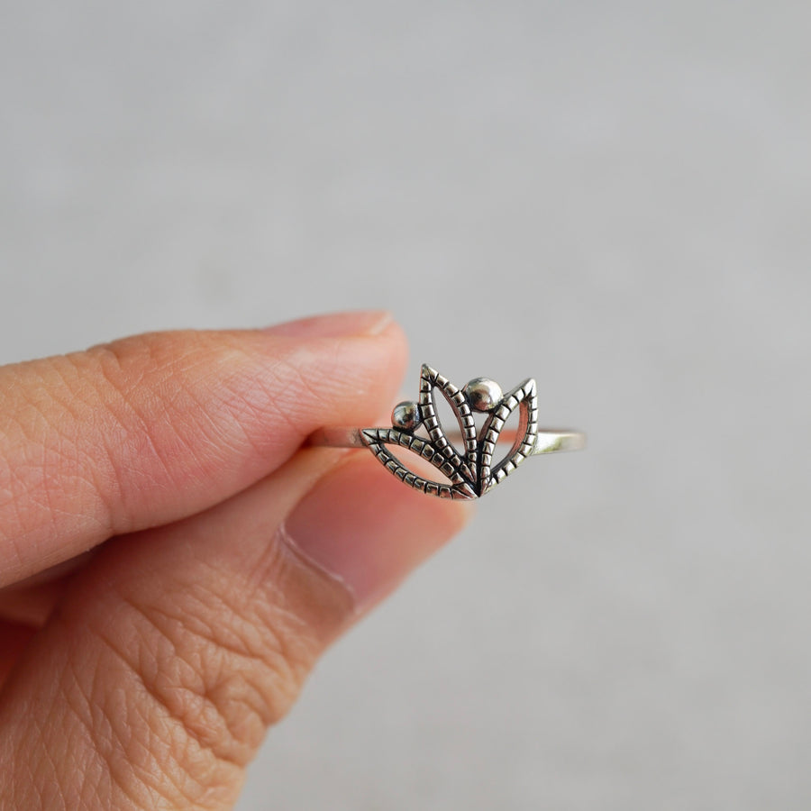 Sterling Silver Oxidised Lotus Flower Ring