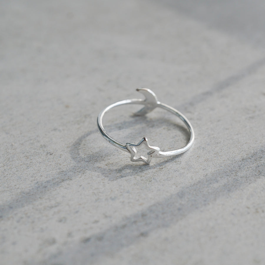 Sterling Silver Moon and Star Double Sided Ring